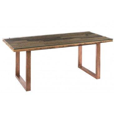 Table A Manger Moderne Métal/Bois/Verre Cuivre/Naturel | www.cosy-home-design.fr
