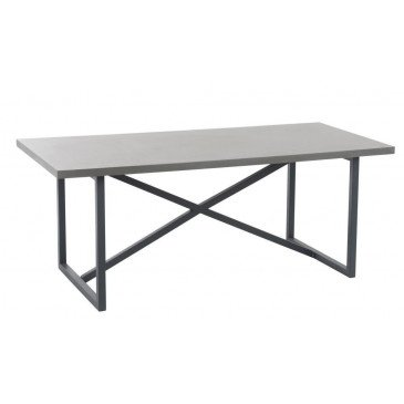 Table A Manger Beton Finish Rectangulaire Bois/Métal Gris | www.cosy-home-design.fr