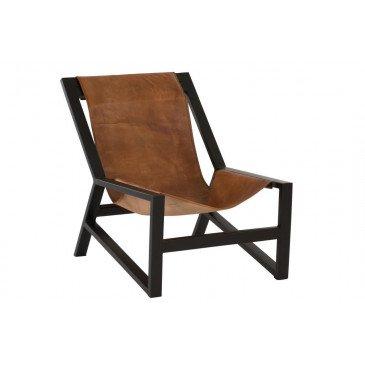 Chaise Relax Cuir/Métal Cognac/Noir | www.cosy-home-design.fr