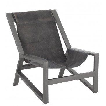 Chaise Relax Cuir/Métal Gris | www.cosy-home-design.fr
