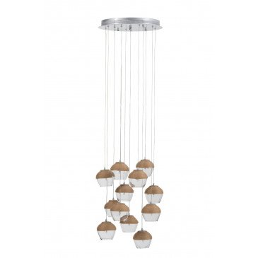 Suspension 10 Parties Verre/Corde Transparent/Naturel | www.cosy-home-design.fr
