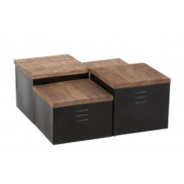 Set De 4 Table Basse Cube Métal/Bois Noir/Naturel | www.cosy-home-design.fr