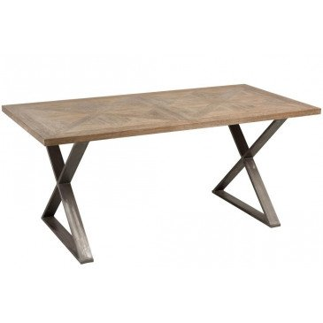 Table A Manger Pied Croix Teck/Métal Marron | www.cosy-home-design.fr