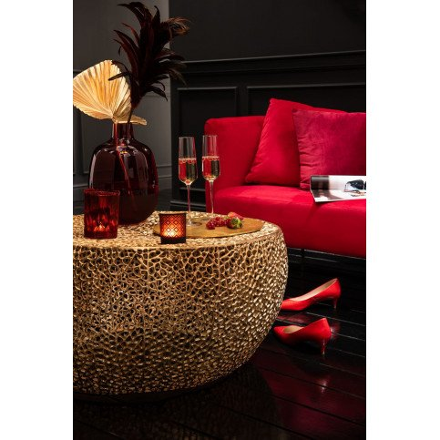 Table Basse Ronde Basse Corail Aluminium Or | www.cosy-home-design.fr