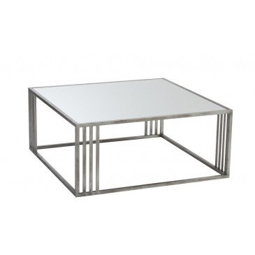 Table Basse Rectangulaire Métal/Verre Argent | www.cosy-home-design.fr