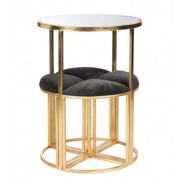 Table et 4 Chaises Métal/Textile Or/Noir | www.cosy-home-design.fr