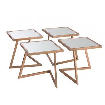 Table Basse 4 Parties Carrée Métal/Verre Cuivre | www.cosy-home-design.fr