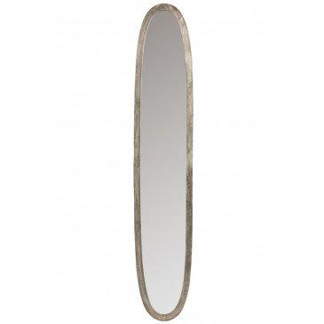 Miroir Ovale Aluminium/Verre Antique Gris Large | www.cosy-home-design.fr
