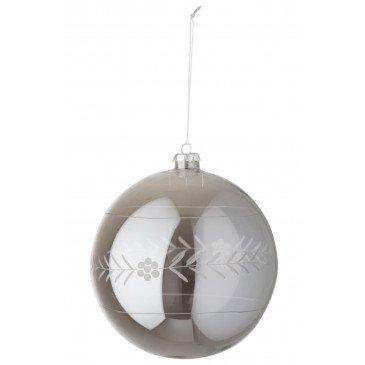 Boule de Noël Entaille Verre Gris XL | www.cosy-home-design.fr