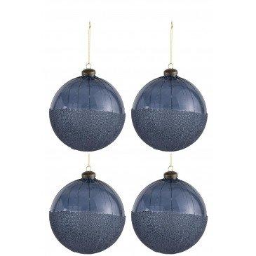 Boite De 4 Boules De Noël Perles Verre Bleu Large | www.cosy-home-design.fr