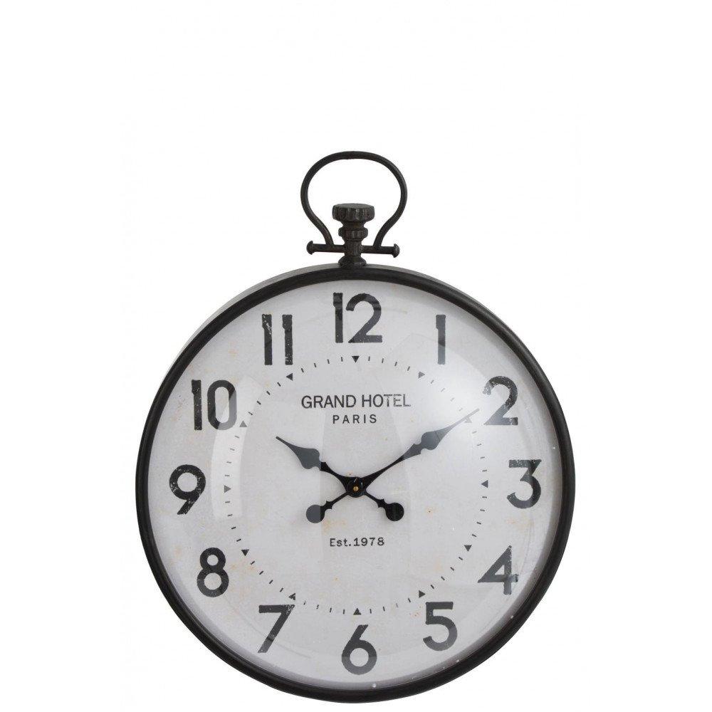 Horloge Boule Ronde Métal Noir Verre Large | www.cosy-home-design.fr