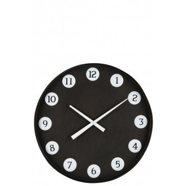 Horloge Ronde Numeros Métal Noir | www.cosy-home-design.fr
