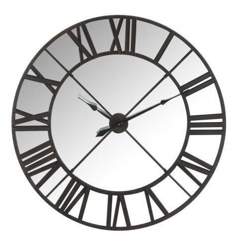 Horloge Miroir Chiffres Romais Métal Noir | www.cosy-home-design.fr
