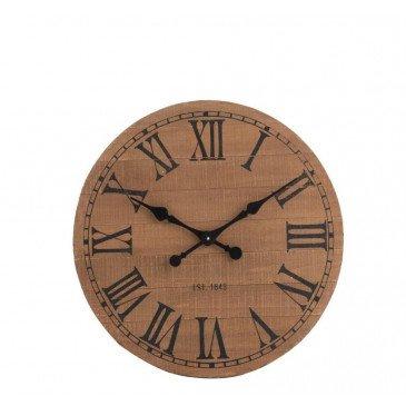 Horloge Ronde Chiffres Romains Bois Naturel Petit | www.cosy-home-design.fr