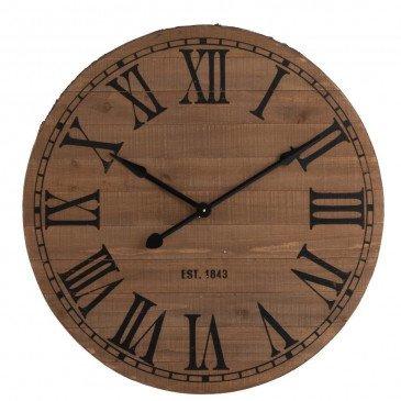 Horloge Ronde Chiffres Romains Bois Naturel Large | www.cosy-home-design.fr