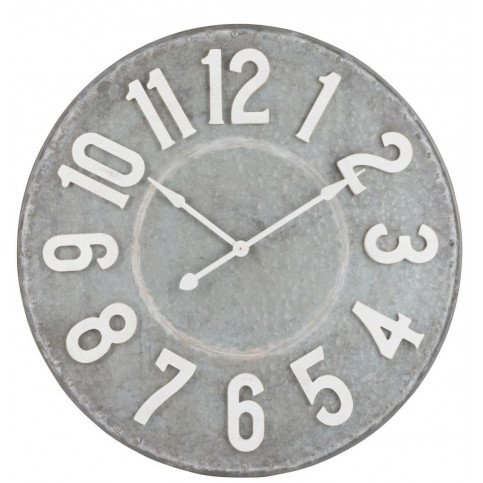 Horloge Ronde Chiffres Métal Gris/Blanc Large | www.cosy-home-design.fr