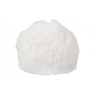 Pouf Poils Longs Fourrure Artificielle Blanc | www.cosy-home-design.fr