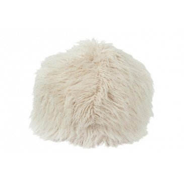 Pouf Poils Longs Fourrure Artificielle Beige | www.cosy-home-design.fr