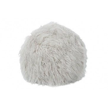 Pouf Poils Longs Fourrure Artificielle Gris | www.cosy-home-design.fr