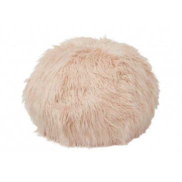 Pouf Poils Longs Fourrure Artificielle Rose | www.cosy-home-design.fr