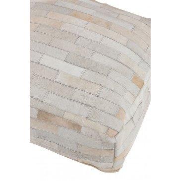 Pouf Noisette Cuir Blanc | www.cosy-home-design.fr