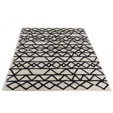 Tapis Motifs Rectangulaire Coton Noir/Blanc | www.cosy-home-design.fr
