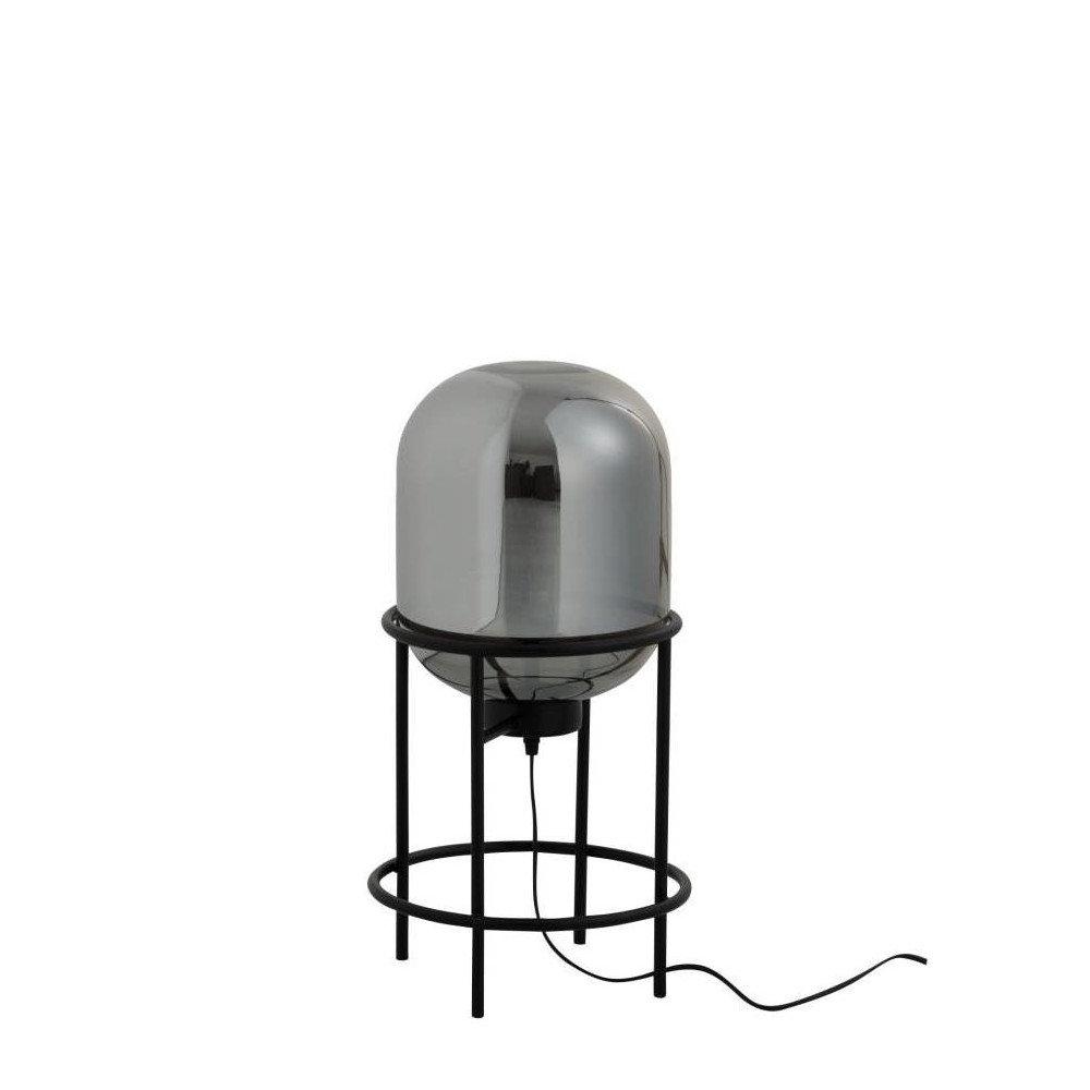 Lampe Sur Pied Sasha Verre/Métal Argent/Noir Petit | www.cosy-home-design.fr