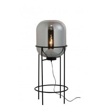 Lampe Sur Pied Sasha Verre/Métal Argent/Noir Medium | www.cosy-home-design.fr