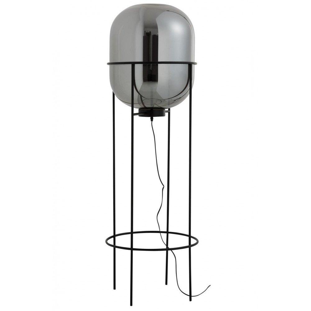 Lampe Sur Pied Sasha Verre/Métal Argent/Noir Large | www.cosy-home-design.fr