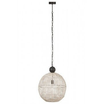 Suspension Boule Rotin Blanc | www.cosy-home-design.fr