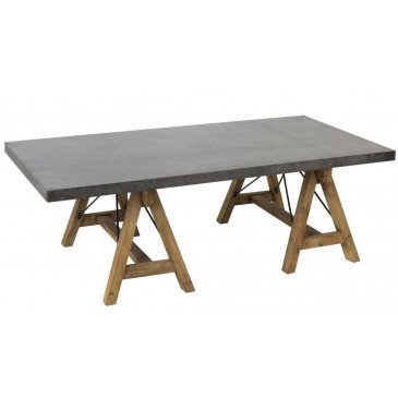Table Basse Rectangulaire Bois/Métal Gris/Naturel | www.cosy-home-design.fr