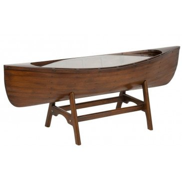 Table Basse Bateau Bois Marron | www.cosy-home-design.fr