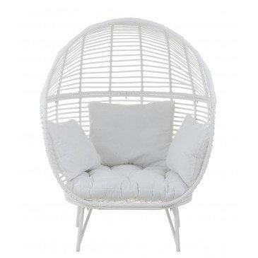 Chaise Lounge Ovale Acier Blanc | www.cosy-home-design.fr