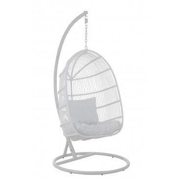 Chaise Suspendue Ovale Acier Blanc | www.cosy-home-design.fr