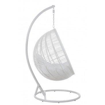 Chaise Suspendue Rond Acier Blanc | www.cosy-home-design.fr