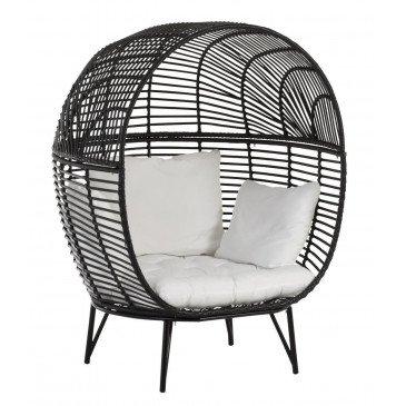 Chaise Lounge Ovale Acier Noir | www.cosy-home-design.fr
