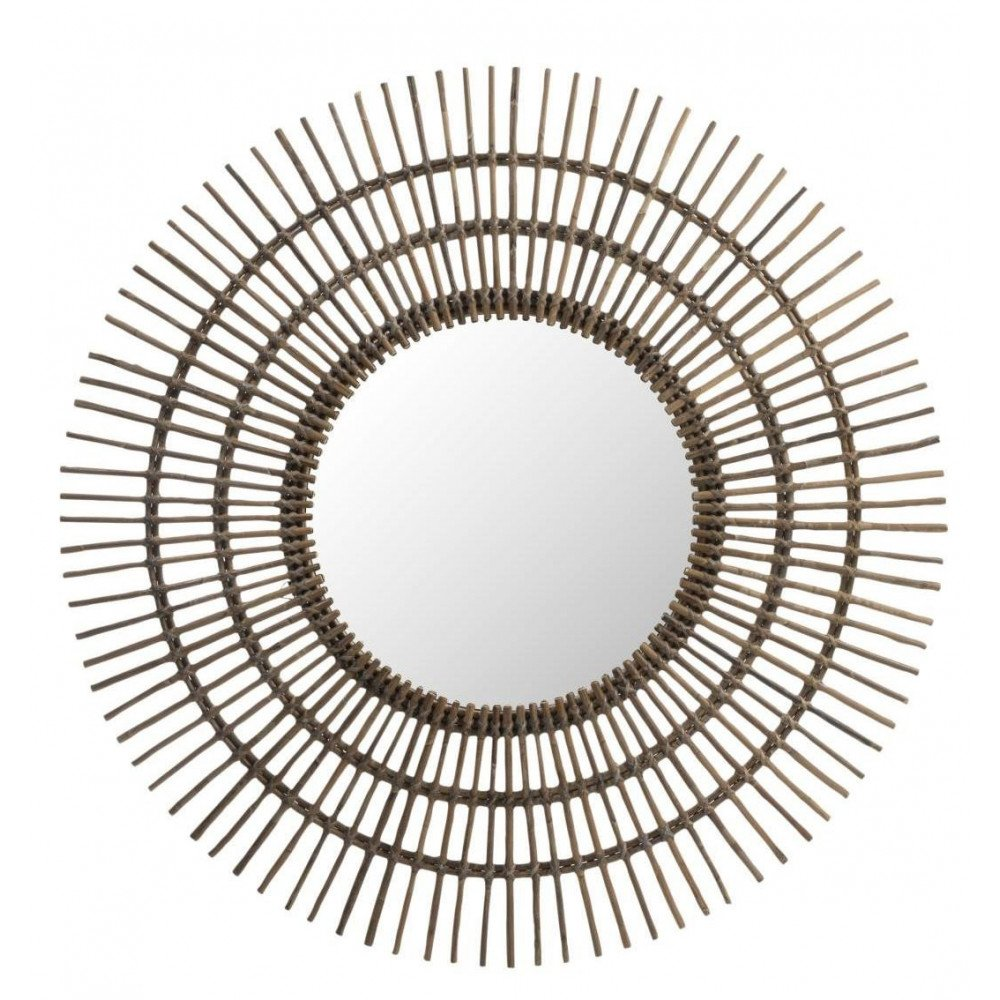 Miroir Rond Ethnique Rotin Marron Large | www.cosy-home-design.fr