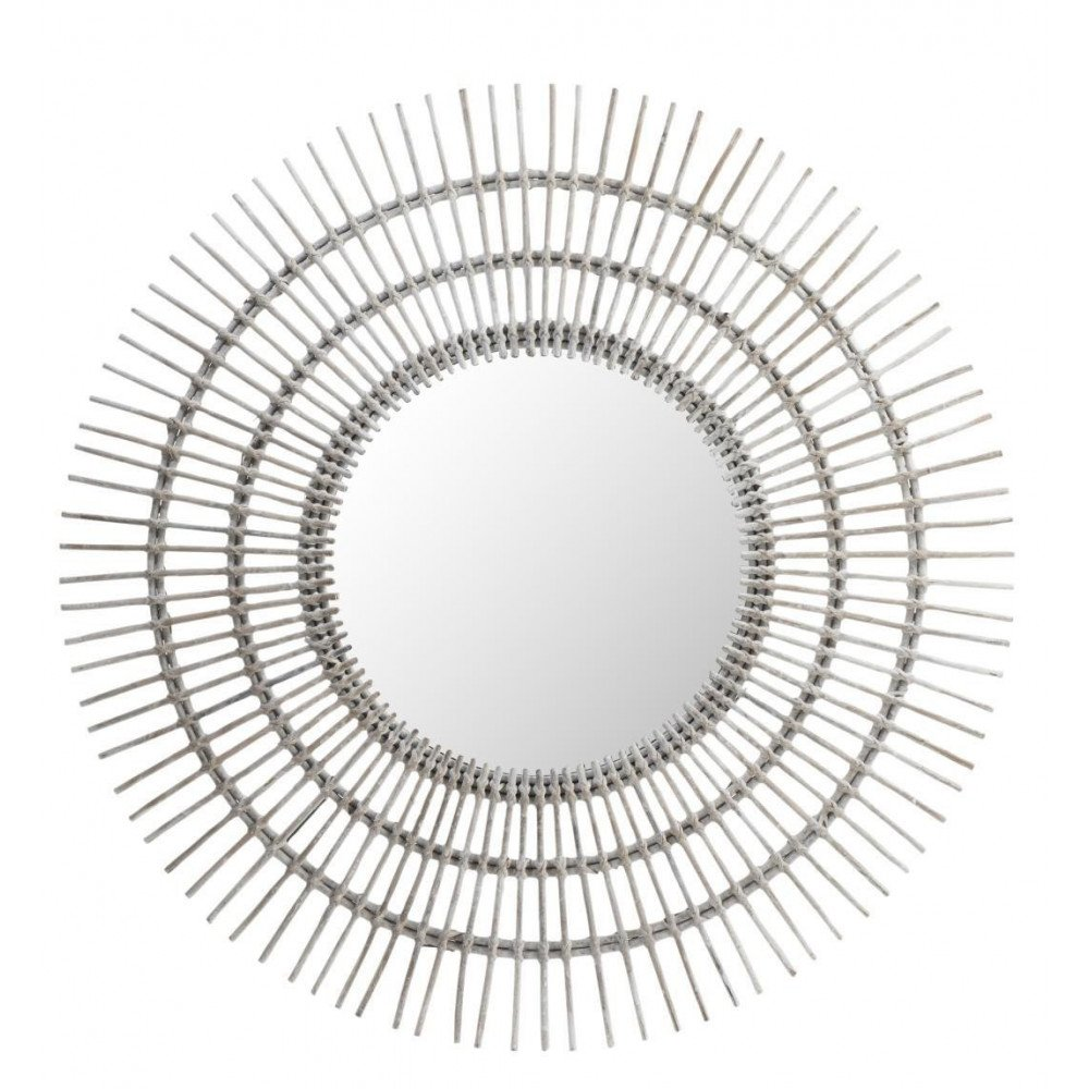 Miroir Rond Ethnique Rotin Blanc Large | www.cosy-home-design.fr