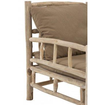 Fauteuil 1 Personne Teck et Textile Naturel/Marron | www.cosy-home-design.fr