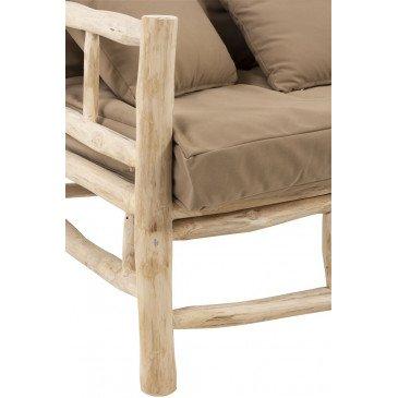 Canapé 3 Personnes Teck et Textile Naturel/Marron | www.cosy-home-design.fr