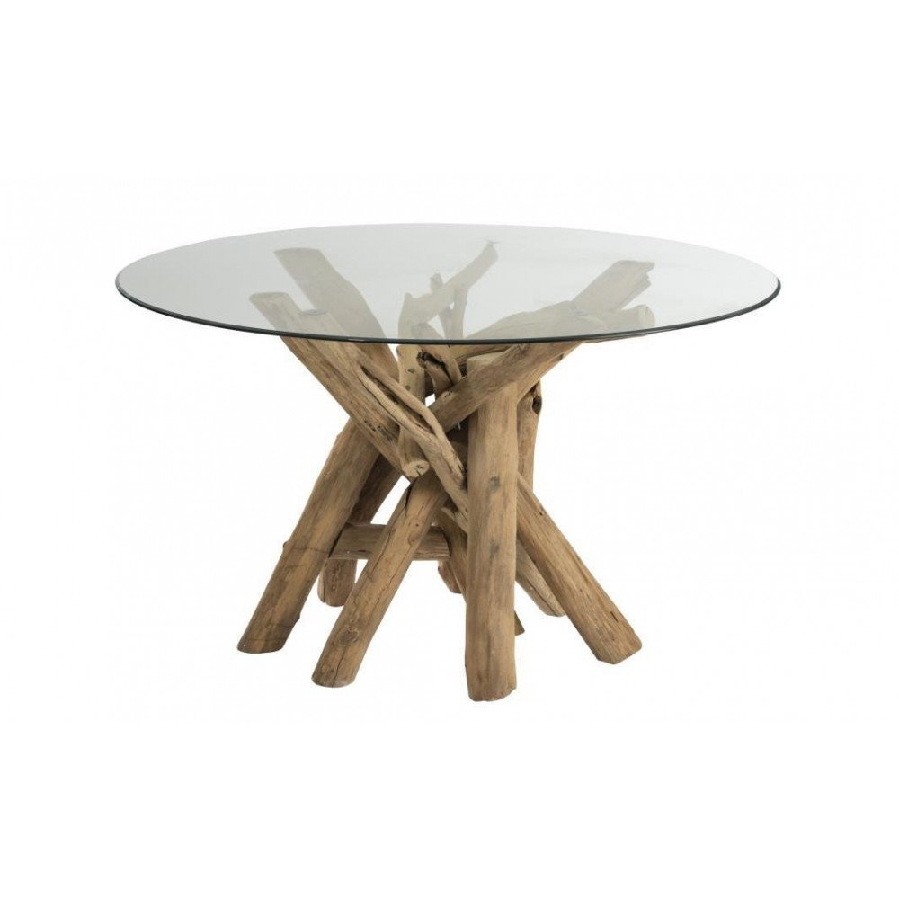 Petite Table Ronde Verre table ronde branches bois/verre naturel
