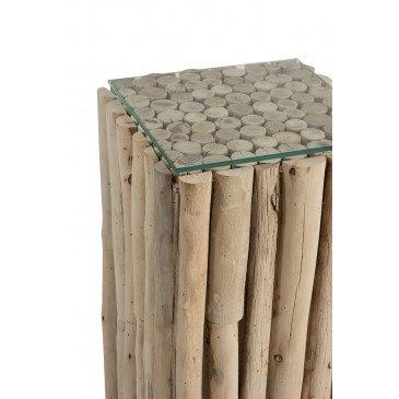 Socle Carré Morceaux Bois/Verre Naturel | www.cosy-home-design.fr