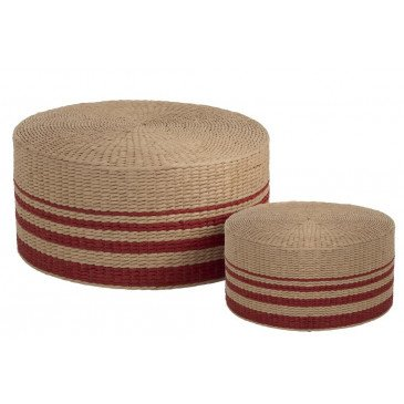 Set De 2 Poufs Ronds Papier Rouge Naturel | www.cosy-home-design.fr