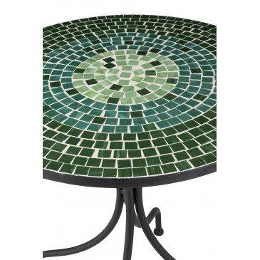Table Ronde Mosaiques Carrées Verre/Métal Vert | www.cosy-home-design.fr