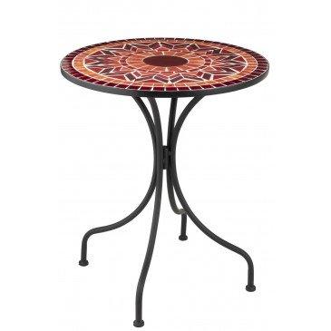 Table Ronde Mosaiques Geometriques Verre/Métal Rouge | www.cosy-home-design.fr