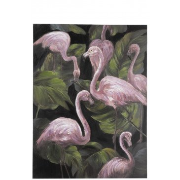 Tableau Flamants Roses Canevas Rose/Vert/Noir | www.cosy-home-design.fr