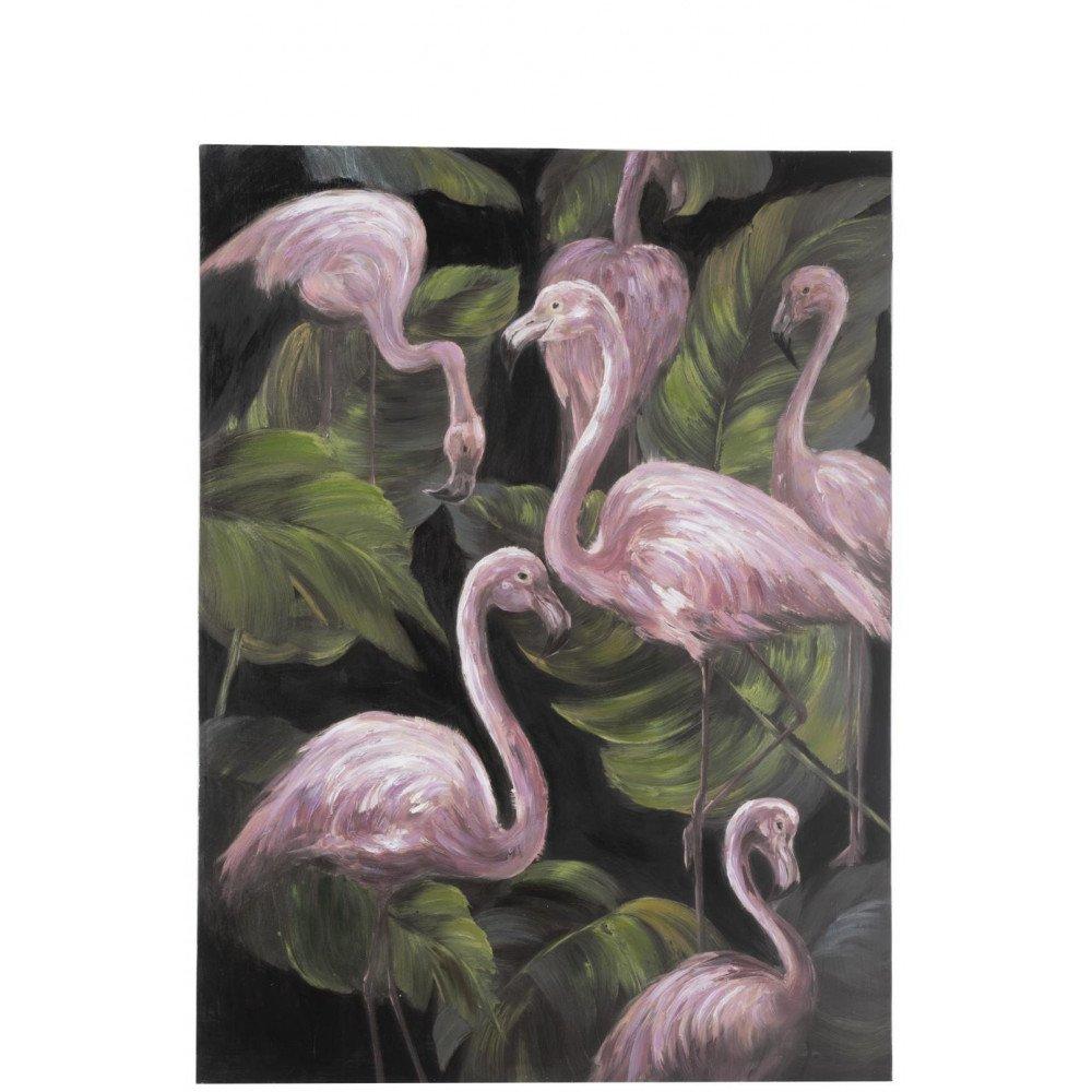 Tableau Flamants Roses Canevas Rose/Vert/Noir | www.cosy-home-design.fr