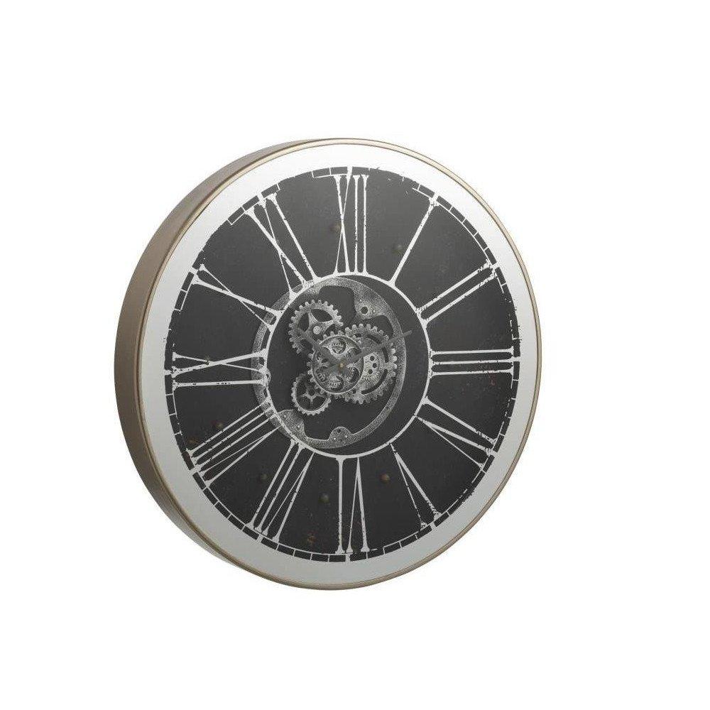 Horloge Ronde et Led Mecanisme Miroir Argent/Champagne | www.cosy-home-design.fr