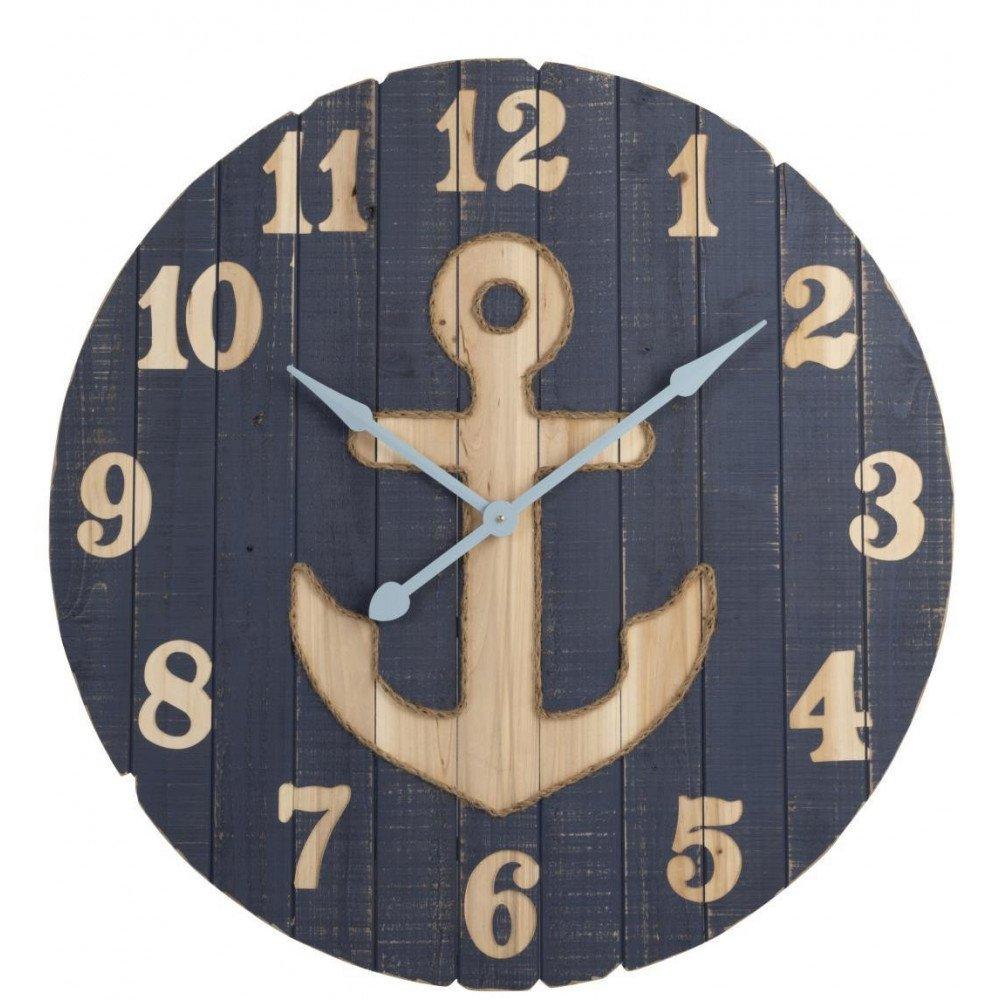 Horloge Ancre Bois Bleu Large | www.cosy-home-design.fr