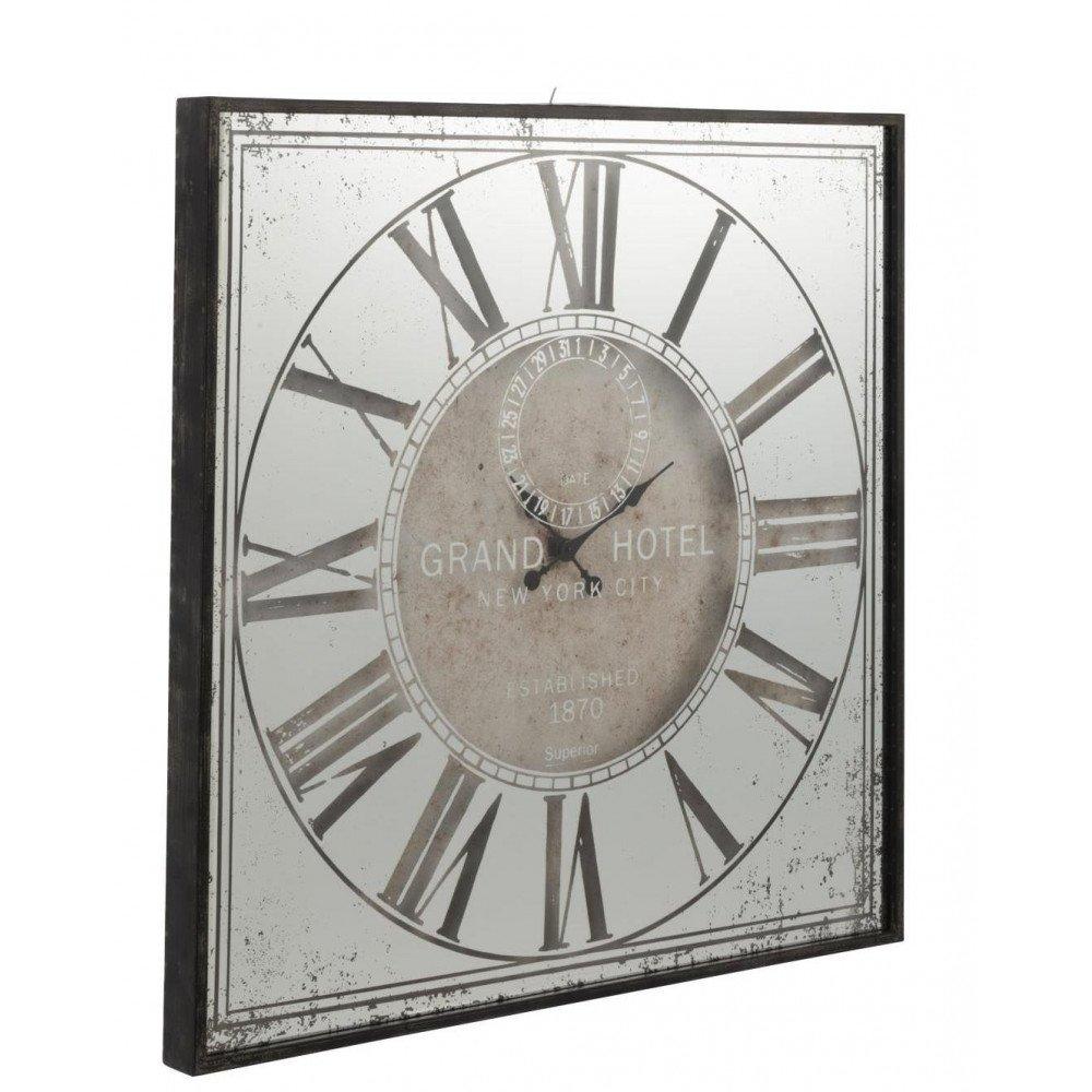 Horloge Carrée Hotel Miroir Gris | www.cosy-home-design.fr